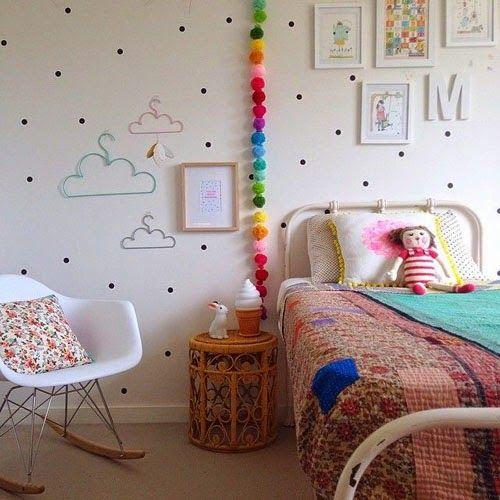 parede poa quarto menina